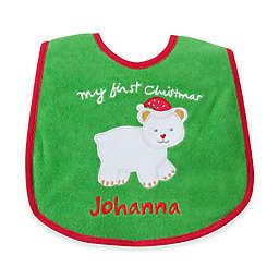 """My First Christmas"" Polar Bear Bib in Green/Red"