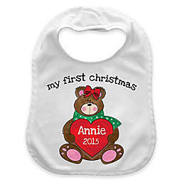 """My First Christmas"" Girl Heart Bear Bib in White/Red"
