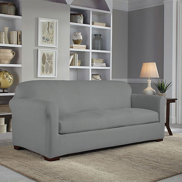 Alternate image 1 for Perfect Fit® 2-Piece Reversible Sofa Slipcover in Steel