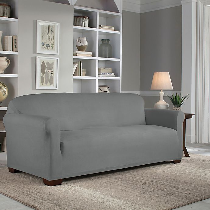 Alternate image 1 for Perfect Fit® Reversible Sofa Slipcover in Steel