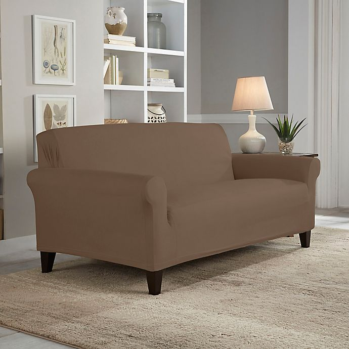 Alternate image 1 for Perfect Fit® Reversible Loveseat Slipcover in Chocolate