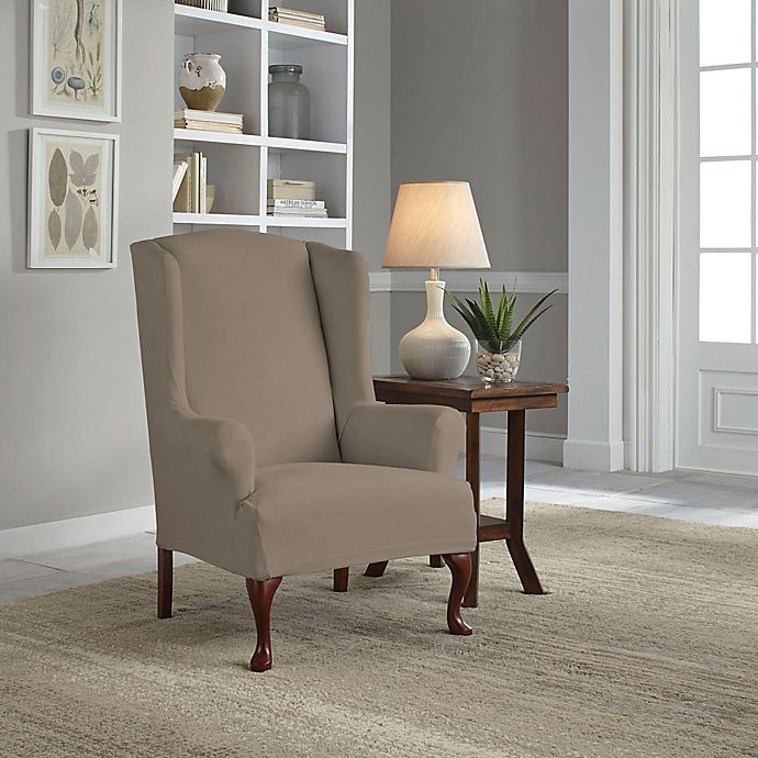 Alternate image 1 for Perfect Fit® Reversible Wingback Chair Slipcover in Khaki