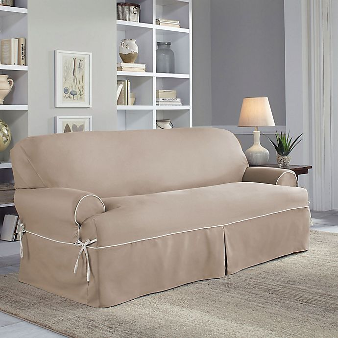 Cool Perfect Fit Classic Twill T Sofa Slipcover Bed Bath Beyond Dailytribune Chair Design For Home Dailytribuneorg