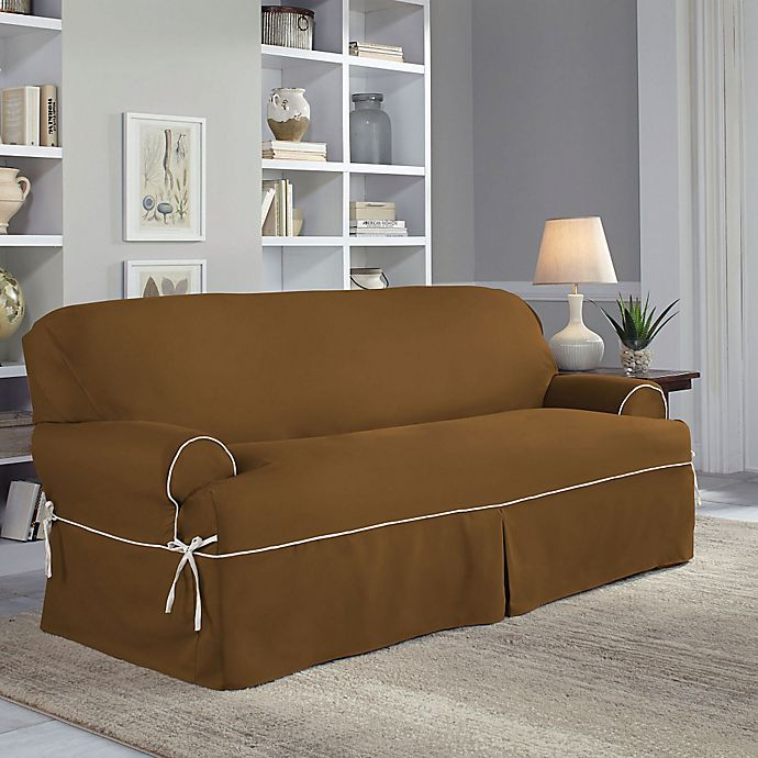 Alternate image 1 for Perfect Fit® Classic Twill T-Sofa Slipcover in Cocoa
