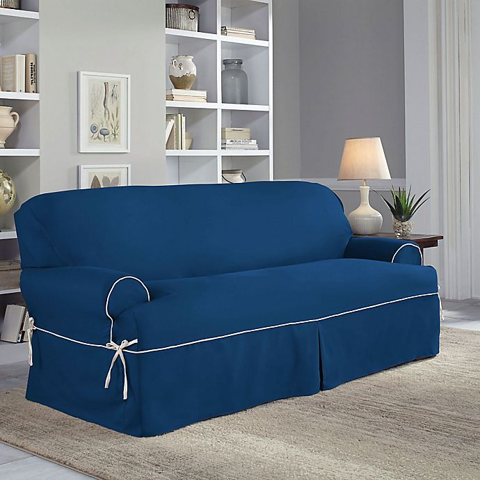 Alternate image 1 for Perfect Fit® Classic Twill T-Sofa Slipcover in Navy