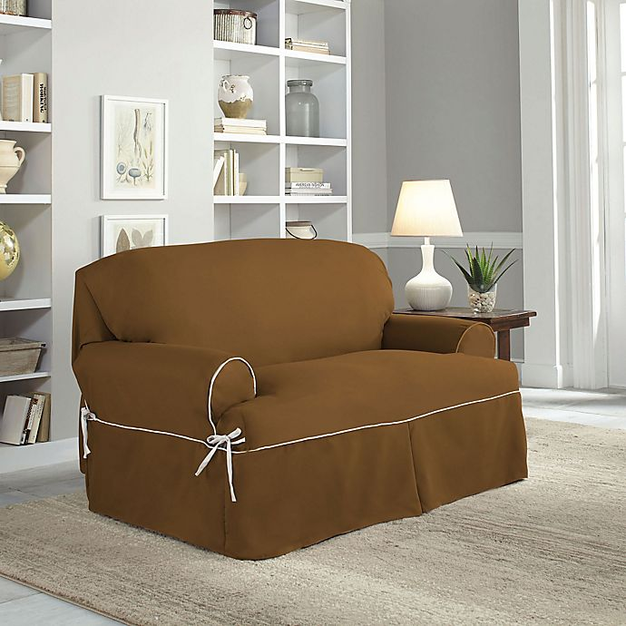 Alternate image 1 for Perfect Fit® Classic Twill T-Loveseat Slipcover in Cocoa