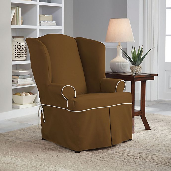 Alternate image 1 for Perfect Fit® Classic Twill Wingback Chair Slipcover in Cocoa