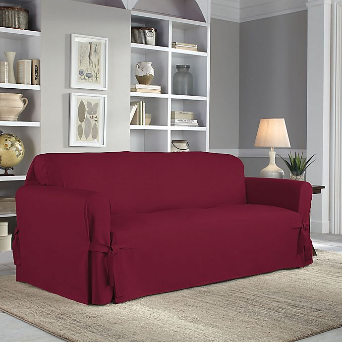 Alternate image 1 for Perfect Fit® Classic Relaxed Fit Sofa Slipcover in Garnet