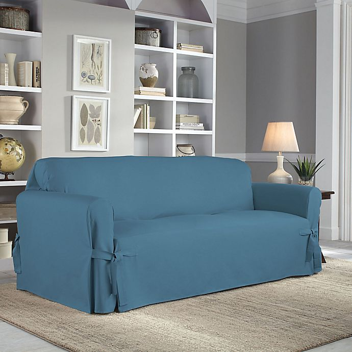 Alternate image 1 for Perfect Fit® Classic Relaxed Fit Sofa Slipcover in Vintage Blue