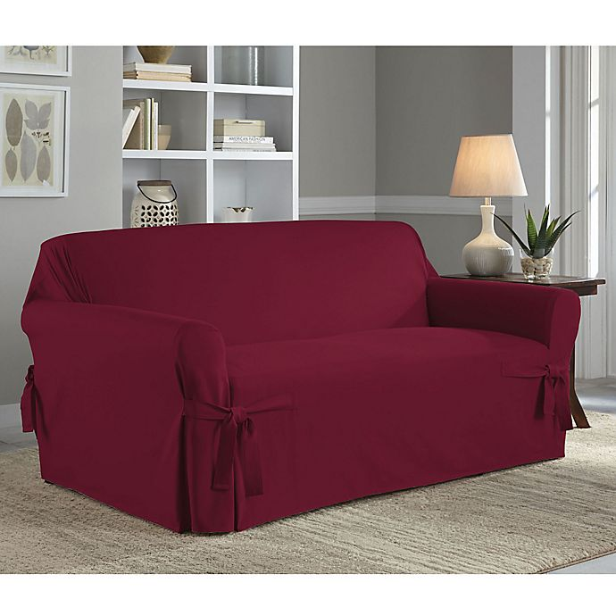Alternate image 1 for Perfect Fit® Classic Relaxed Fit Loveseat Slipcover in Garnet