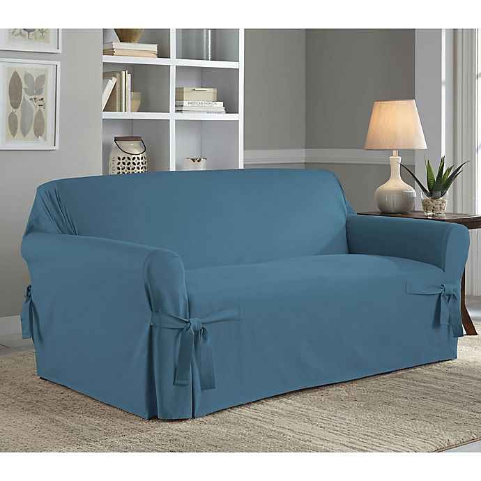 Alternate image 1 for Perfect Fit® Classic Relaxed Fit Loveseat Slipcover in Vintage Blue