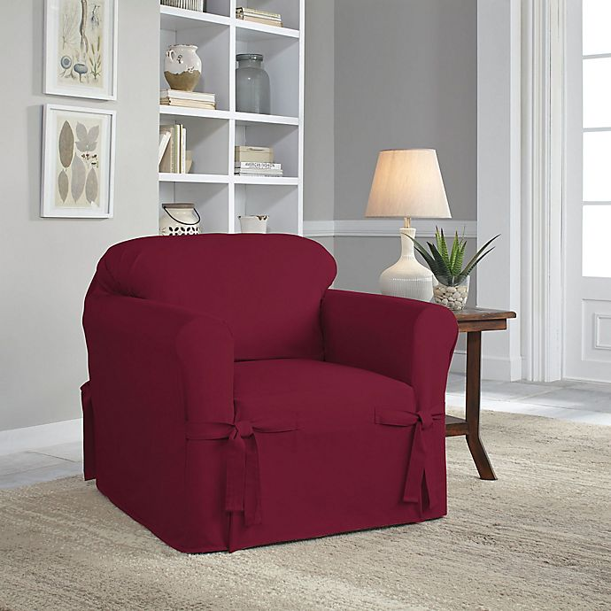 Alternate image 1 for Perfect Fit® Classic Relaxed Fit Chair Slipcover in Garnet