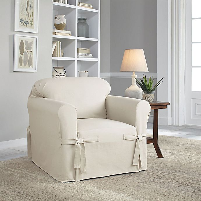 Alternate image 1 for Perfect Fit® Classic Relaxed Fit Chair Slipcover in Parchment