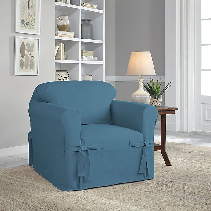 Alternate image 1 for Perfect Fit® Classic Relaxed Fit Chair Slipcover in Vintage Blue