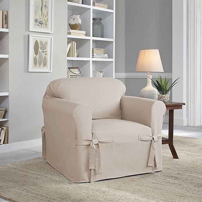 Alternate image 1 for Perfect Fit® Classic Relaxed Fit Chair Slipcover in Stone