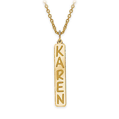 18-Inch Chain Vertical Nameplate Pendant Necklace