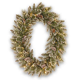 National Tree Company 30-Inch Pre-Lit Glittery Bristle Pine Oval Wreath with LED Lights