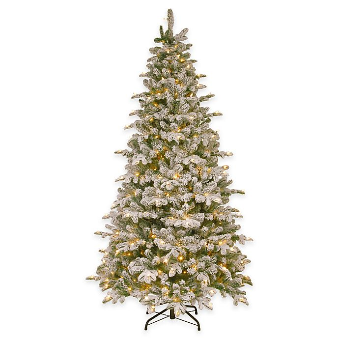 Alternate image 1 for National Tree 7.5-Foot Feel-Real® Snowy Everest Fir Pre-Lit Medium Hinged Christmas Tree