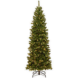 National Tree Company 7-Foot 6-Inch North Valley Spruce Slim Hinged Christmas Tree w/Clear Lights