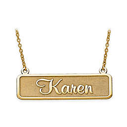 10K Gold Satin 18-Inch Chain Satin Finish Nameplate Necklace