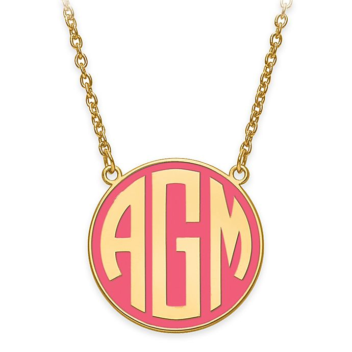 Alternate image 1 for 18-Inch Chain Small Block Letters Round Enamel Pendant Necklace