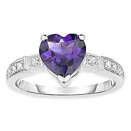 10K White Gold 1.5 cttw Diamond and Heart-Shaped Amethyst Ladies' Ring