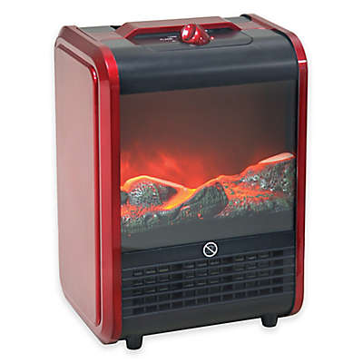 Comfort Zone® Mini Ceramic Fireplace Heater in Red