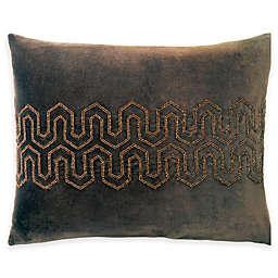 Beaded Velvet Oblong Throw Pillow in Brown