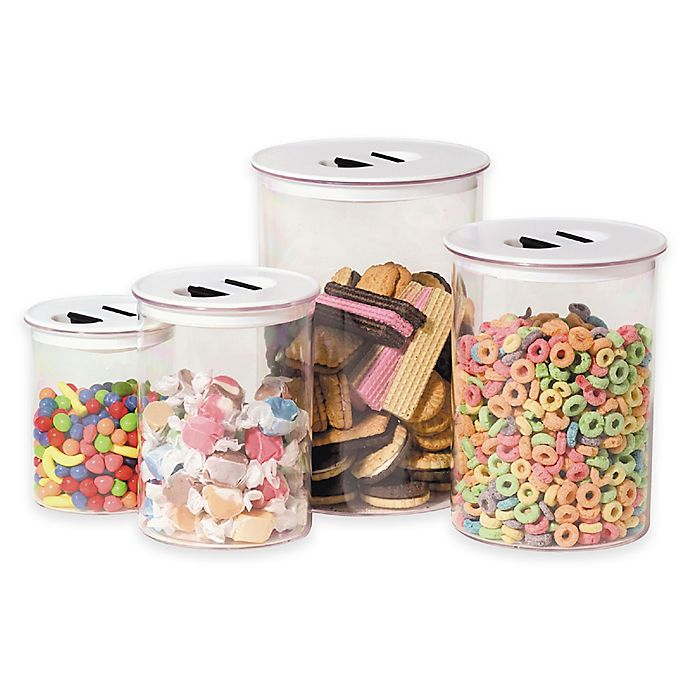 Alternate image 1 for Oggi™ 4-Piece Round Stack-N-Store Canister Set in White