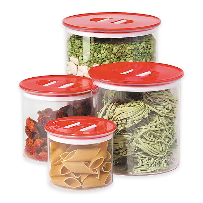Alternate image 1 for Oggi™ 4-Piece Round Stack-N-Store Canister Set in Red