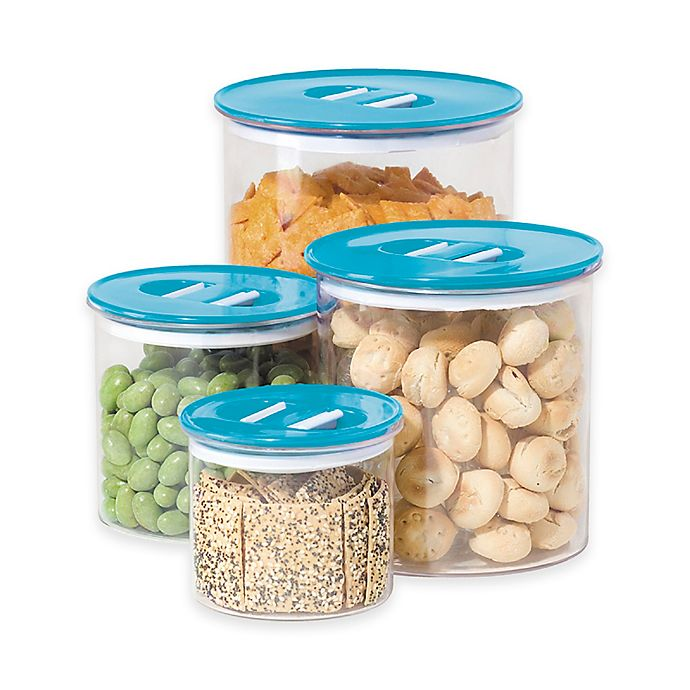 Alternate image 1 for Oggi™ 4-Piece Round Stack-N-Store Canister Set in Aqua