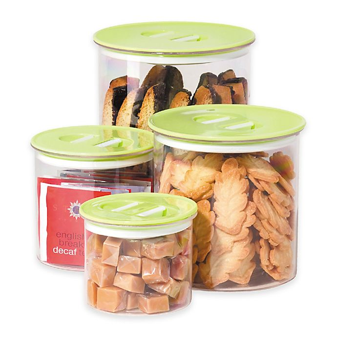 Alternate image 1 for Oggi™ 4-Piece Round Stack-N-Store Canister Set in Green