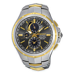 Seiko Coutura Men's Perpetual Chronograph Watch in Two-Tone Stainless Steel with Grey Dial
