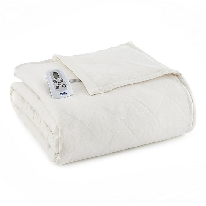 Alternate image 1 for Micro Flannel® Electric Heated Queen Comforter/Blanket in Ivory