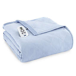 Micro Flannel® Electric Heated Twin Comforter/Blanket in Wedgwood