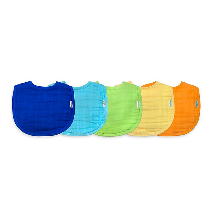 Alternate image 1 for green sprouts® 5-Pack Organic Cotton Muslin Boy Bibs