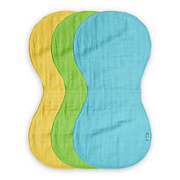 green sprouts® 3-Pack Organic Cotton Muslin Burp Cloths in Aqua/Green