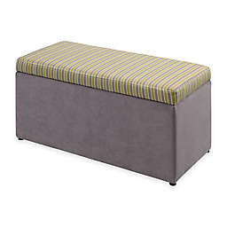 Linon Home Tree House Lane Striped Upholstered Toy Chest in Lime and Grey