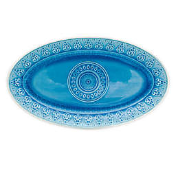 Euro Ceramica Fez 14.5-Inch Oval Platter in Turquoise