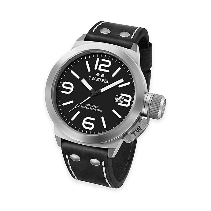 fb78b323f TW Steel Unisex 38mm Canteen Watch in Stainless Steel with Black Leather  Strap