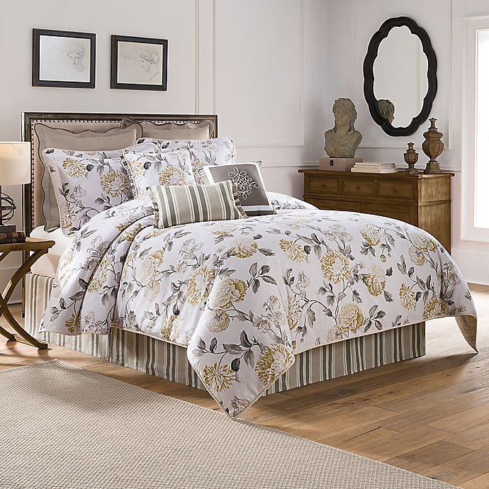 Alternate image 1 for Colonial Williamsburg Eve Reversible King Comforter Set in Grey/Yellow