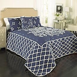 Blue Grotto Chenille Bedspread in Blue