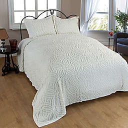 Wedding Ring Chenille King Bedspread in Ivory