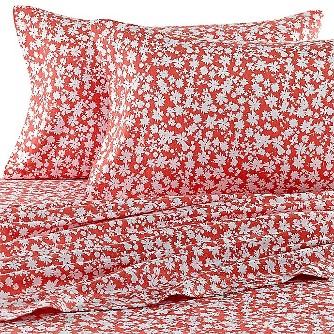 Teen Vogue 174 Dancing Daisies Flannel Sheet Set In Coral