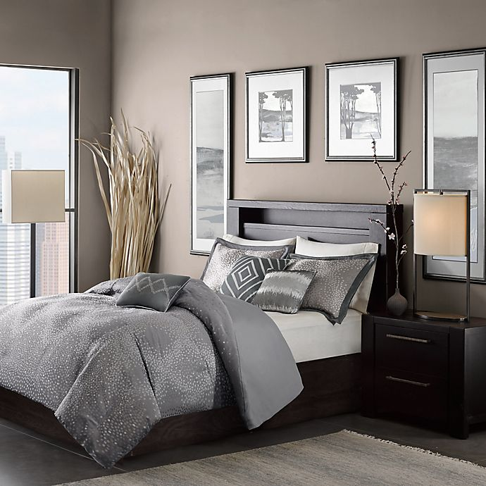 Alternate image 1 for Madison Park Quinn 7-Piece Queen Comforter Set in Grey