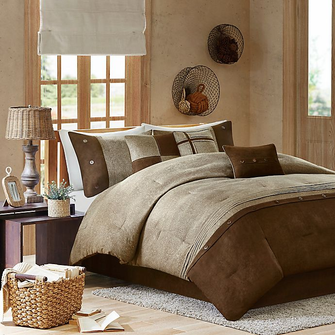 Alternate image 1 for Madison Park Boone 7-Piece Queen Comforter Set in Brown