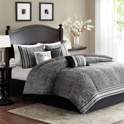 Madison Park Barton Comforter Set In Black Bed Bath Amp Beyond