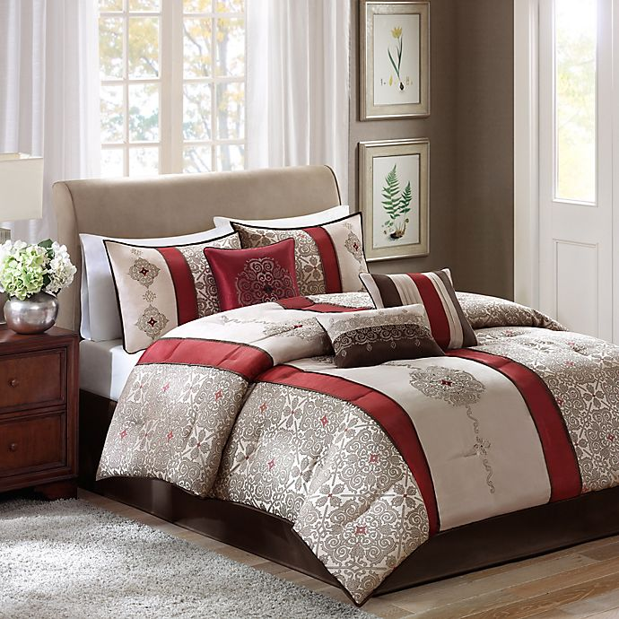 Alternate image 1 for Madison Park Donovan 7-Piece Queen Comforter Set in Red