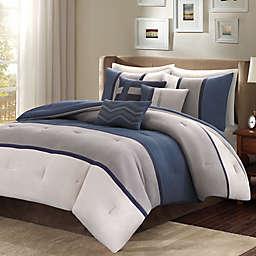 Madison Park Palisades 7-Piece Reversible Queen Comforter Set in Blue