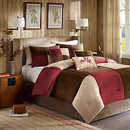 Madison Park Jackson Blocks 7-Piece Comforter Set in Red